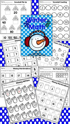 Winter Math for Kindergarten.  Just print and go...