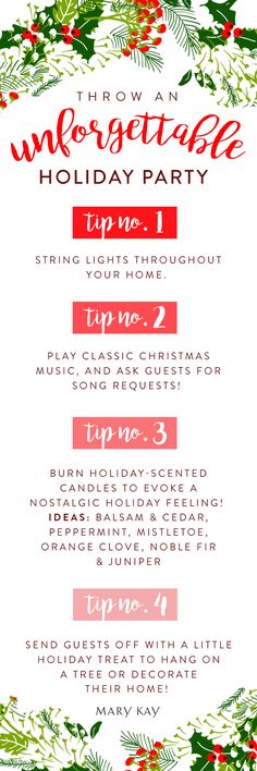 'Tis the season for making memories! We've got tips and tricks for a festive holiday party your family and friends will remember.   Mary Kay