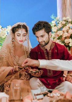 Pakistani Dresses Casual, Pakistani Bridal Dresses, Sajjal Ali, Celebs, Celebrities, Beautiful Couple, Bridal Looks, Celebrity Weddings, Beautiful Actresses