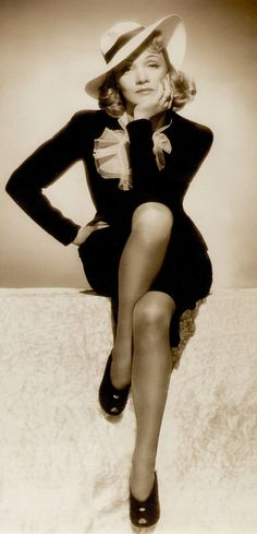 "MARLENE DIETRICH in MANPOWER 1941 photo by Scotty Welbourne. I have a 20"" b/w  statue of this pose called 'Marlene', it's beautiful. It was withdrawn from sale, so is very rare. From a 2001 Marlene Dietrich German calendar. (minkshmink on pinterest)"