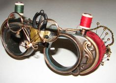Steampunk goggles with sewing supplies.  http://www.flickr.com/photos/jmarsdesign/sets/72157618476499982/show/