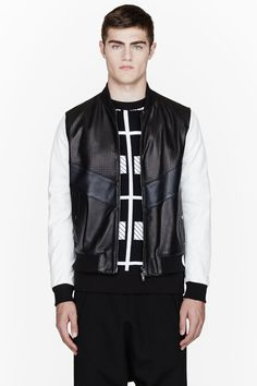 UMIT BENAN Black perforated leather contrast-sleeve bomber