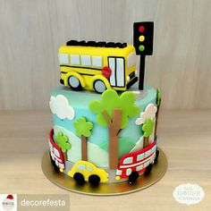 Little boy cakes, transportation birthday, bithday cake, sugar cake, first birt Bithday Cake, Baby Birthday Cakes, 1st Boy Birthday, Little Boy Cakes, Cakes For Boys, School Bus Cake, Cake Designs For Kids, Sugar Cake, New Cake