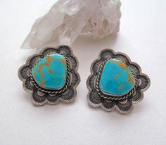 Kingman Turquoise Sterling Silver Earrings by DesertEarthJewelry