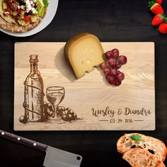 Cutting Board Personalized Wedding Gift Wine and Cheese Monogram Last Name Chopping Block Laser Engraved Bamboo Board Anniversary Gift