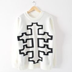 Totem Pattern Cotton Color Matching Sweater For Women