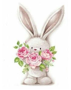 bunny rabbit and flowers cartoon image for craft Bunny Art, Cute Bunny, Bunny Rabbit, Cute Drawings, Animal Drawings, Easter Drawings, Cute Images, Cute Pictures, Bing Images
