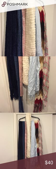 SALE!!! 🎁 Gorgeous lot of 7 scarves! Beautiful! Moving out sale. I have no room for all my stuff so it has to go. This gorgeous lot of scarves is at a great deal. Fluffy scarves in creamy white, blue, navy, and multi fall colored (red, caramel, cream, brown) these are all lovely big knit scarves. A stylish skinny pink cashmere scarf with sequence. A baby blue pashmina and a pink silver gray checkered large scarf :) get this deal now!! Accessories Scarves & Wraps