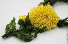 Колье из бисера Хризантема - жёлтый,зеленый,оливковый цвет,японский бисер ТОНО