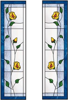 Vertical Stained Glass Window With Blue Border and Leaded Floral Design