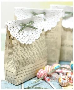 newspaper + doily gift bags