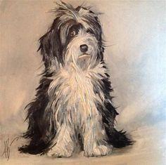 """Daily Paintworks - """"Lab-a-doodle Portrait"""" - Original Fine Art for Sale - © Annette Balesteri"""