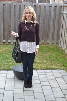 layering with a blouse and sweater