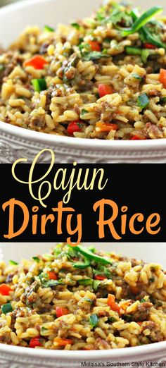 This recipe for Cajun Dirty Rice is turbo charged with flavor and a celebration of a beloved Louisiana classic. Don't forget the hot sauce! Cajun Dirty Rice Recipe, Cajun Rice, Dirty Rice Recipe With Sausage, Louisiana Chicken Pasta, Cajun Dishes, Food Dishes, Gumbo, Salads, Cajun Recipes