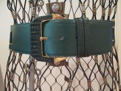 Corset  Belt Vintage Wide Green Leather  Milor by MenagerieMall