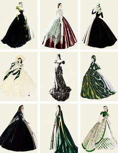 Walter Plunkett's costume sketches for Vivien Leigh as 'Scarlett O'Hara' in Gone With the Wind (1939)o