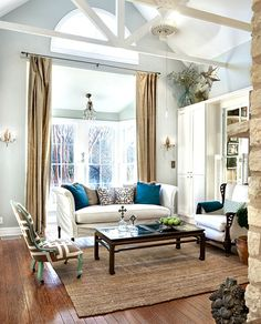 Pop of Color- You will hear me use this phrase often, just a simple addition of color is sometimes all you need. #livingroom #RugsNowDesign