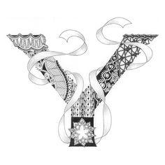 Zentangle®-Inspired Art - Tangled Alphabet - Y
