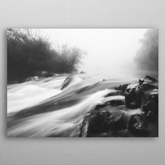 Cascade waterfall fog day by Patrik Lovrin | metal posters - Displate #displate #landscapephotography #artprints #Slovenia #blackandwhite