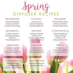 Spring Diffuser Recipes with Essential Oils from Young Living Essential Oil Diffuser Blends, Doterra Oils, Doterra Essential Oils, Young Living Essential Oils, Yl Oils, Doterra Diffuser, Diffuser Recipes, Fruit Punch, Tips