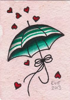 Valentine Umbrella, tattoo flash by Evie Yapelli - showpigeon.com
