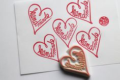 handmade love heart stamp. calligraphy hand carved by talktothesun