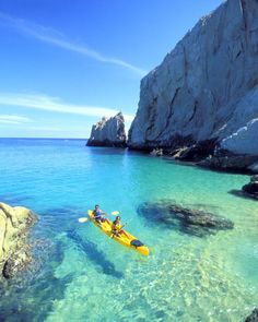 Floating on Turquoise, Greece - I would LOVE to ocean kayak here. Places Around The World, Oh The Places You'll Go, Places To Travel, Places To Visit, Around The Worlds, Dream Vacations, Vacation Spots, Vacation Deals, Vacation Travel