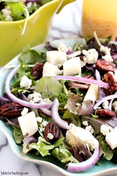 Pear and blue cheese candid pecan salad