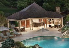 How to Update Your Backyard to Entertain at Night covered outdoor kitchen pool house Lewis Aquatech VA The post How to Update Your Backyard to Entertain at Night appeared first on Outdoor Ideas. Outdoor Cabana, Pool Cabana, Outdoor Pool, Outdoor Decor, Outdoor Ideas, Pool Gazebo, Covered Outdoor Kitchens, Outdoor Glider, Pool House Designs
