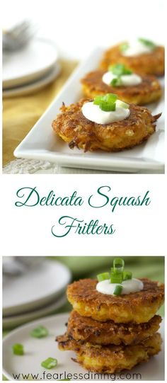 Gluten Free Delicata Squash Fritters HTTP://httpwww.fearlessdining.com Collage