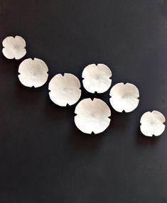 Wall art set - Graces - Wall hanging ceramic sculpture art Seven white porcelain flowers Large wall art set U. seller READY TO SHIP Graces – Wall hanging ceramic sculpture art Seven white porcelain decorative wall art flowers Lar