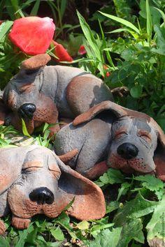 Купить Спящие пёсики. - серый, пес, собака, Керамика, авторская ручная работа, сон, щенок