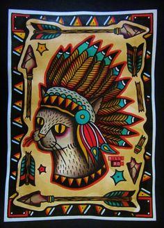 Cat tattoo artwork by Billi Boi