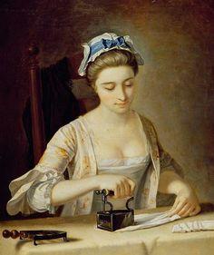 18C American Women: Women doing laundry in the 1700s 1750s Henry Robert Morland (British painter, 1716-1797)  Woman Ironing