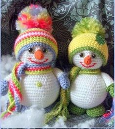 Crochet Colorful Snowman Amigurumi Free Pattern