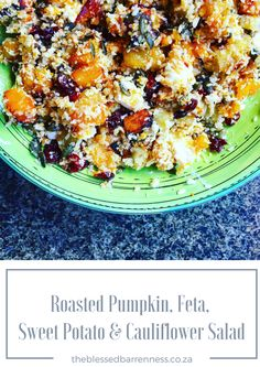 The most delicious roasted pumpkin, sweet potato, feta and cauli rice salad. Perfect for low carbers and banters! Banting, Lchf, Cauli Rice, Cauliflower Salad, Rice Salad, Roast Pumpkin, Giveaways, Feta, Sweet Potato
