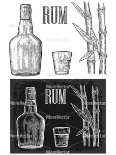 Glass bottle rum and sugar cane
