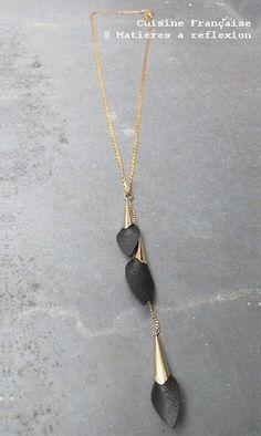 Feuilles noires // Cuisine Française leaf long necklace @ Matières à réflexion