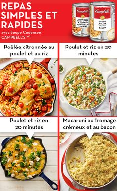 Enjoy our delicious quick and easy dinner recipes that you can cook up in 30 minutes or less. Quick and easy recipes that your family will love. Weeknight Meals, Quick Easy Meals, Easy Dinners, Campbells Soup Recipes, Cooking Recipes, Healthy Recipes, Healthy Meals, Yummy Recipes, Healthy Food