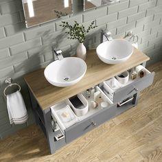 Sutton Countertop Vanity Unit and Double Camila Basin Bathroom Basin Units, Modern Bathroom Sink, Double Sink Bathroom, Bathroom Cabinets, Bathroom Vanities, Bathrooms, Bathroom Towels, Contemporary Bathroom Designs, Bathroom Tile Designs