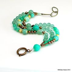 Teal and Aqua Beaded Bracelet Multi Strand by WillOaksStudio