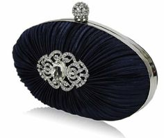 Price: 	$38.99 | Oval Navy Blue Hard Cased Crystal Pleated Party Prom #EveningClutch #Bag (18cm x 10cm) with PreciousBags Dust Bag | Stunning Clutch Bag for Parties, Proms, Weddings, Evenings Out & Special Occasions | Spacious Inside & Supplied with a Silver Chain | Supplied with Protective PreciousBags Dust Bag