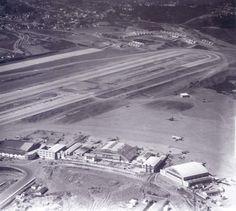 Foto aérea histórica Aeroporto de Congonhas - pista e hangares (década de 1940/1950