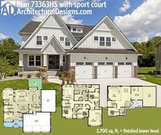 Architectural Designs Exclusive House Plan 73363HS has a stunning white exterior and a sport court in the basement. 3,700+ sq. ft. of living plus the optional finished lower level. Ready when you are. Where do YOU want to build?