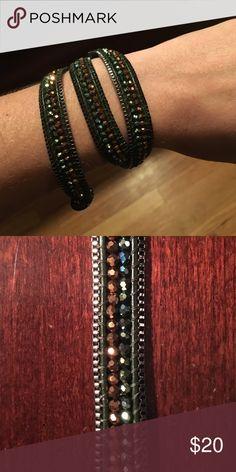 Rhinestone wrap bracelet Emerald green and orange rhinestone wrap bracelet - never been worn Jewelry Bracelets