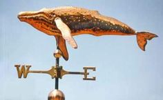 Traditional Humpback Whale Weather Vane by West Coast Weather Vanes.  This handcrafted custom made Humpback Whale weathervane consists of an all copper Humpback Whale.