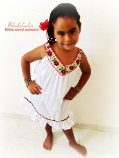Agua de Rosas Handmade Embroidered Chaquira Beaded Baby And children Mexican Dress