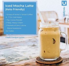 Perfect way to add my u magic and have something healthy to drink! Iced Mocha Latte Recipe, Iced Coffee Protein Shake Recipe, Protein Shake Recipes, Cocoa Recipes, Coffee Recipes, Keto Recipes, Happy Coffee, Smoothie Drinks, Smoothies