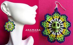 Huichol Skull Earrings 074 Mexican Jewelry Mexican earrings