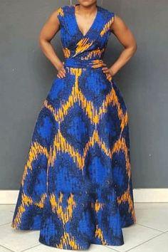 African Fashion, V-Neck Print Sleeveless Pullover Women's Maxi Dress African Maxi Dresses, African Attire, African Wear, Ankara Dress, African Print Fashion, Fashion Prints, Africa Fashion, Fashion Design, Western Dresses